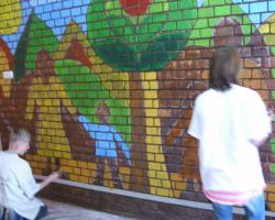 Falfestés Csanádpalotán a Művelődési Házban
